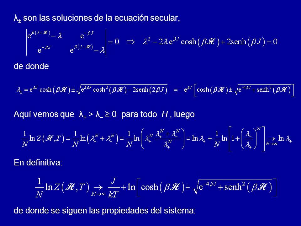 λ± son las soluciones de la ecuación secular,