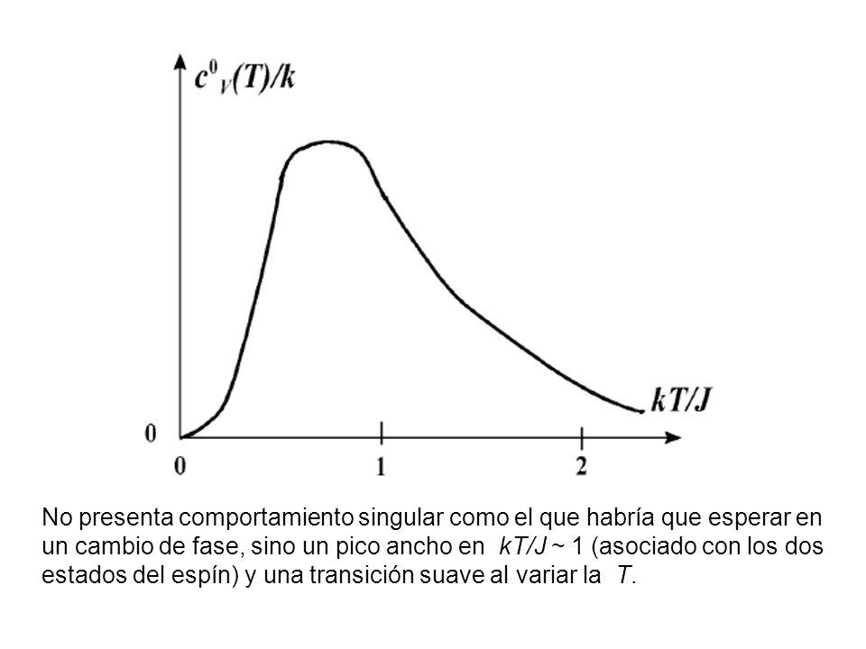 No presenta comportamiento singular como el que habría que esperar en un cambio de fase, sino un pico ancho en kT/J ~ 1 (asociado con los dos estados del espín) y una transición suave al variar la T.