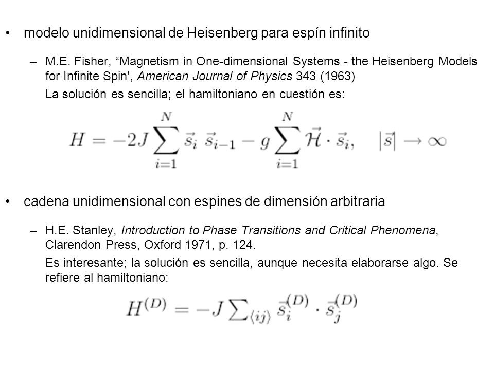 modelo unidimensional de Heisenberg para espín infinito