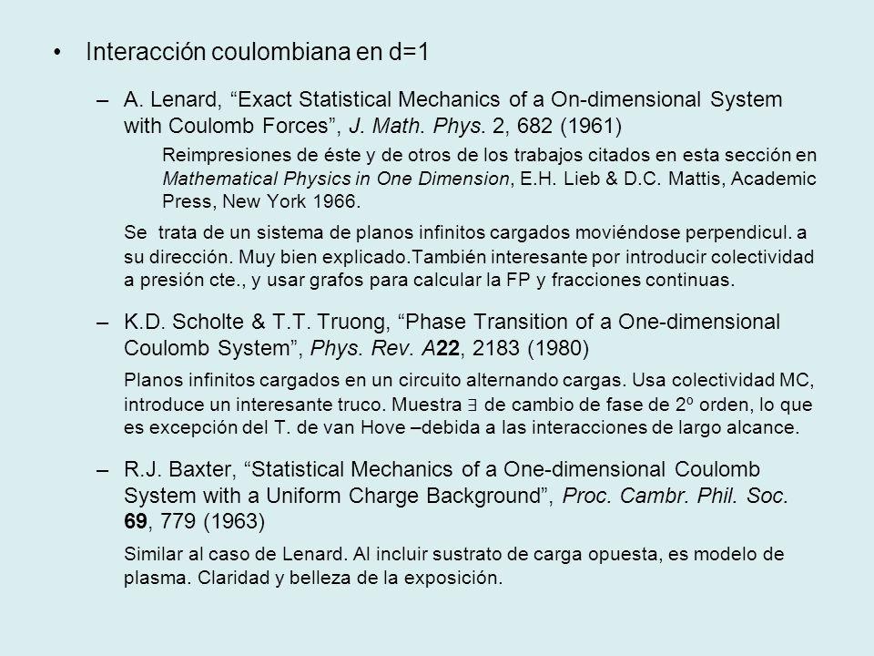 Interacción coulombiana en d=1