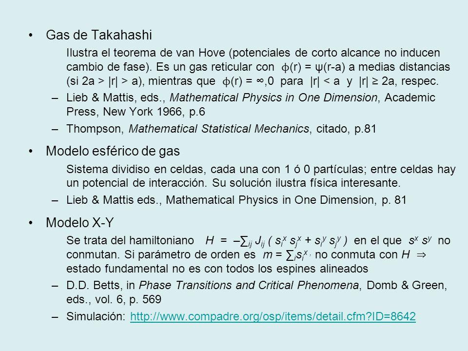 Gas de Takahashi Modelo esférico de gas Modelo X-Y