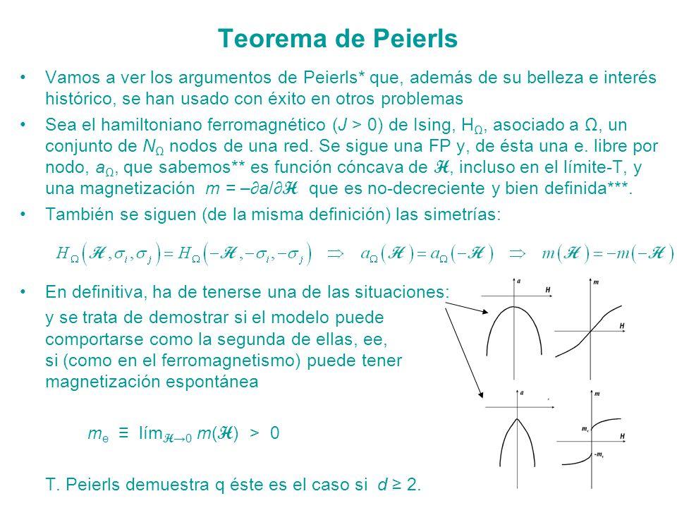 Teorema de Peierls Vamos a ver los argumentos de Peierls* que, además de su belleza e interés histórico, se han usado con éxito en otros problemas.