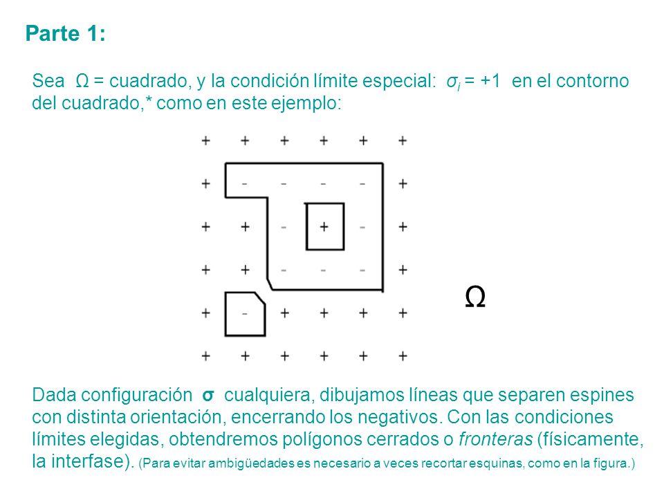 Parte 1: Sea Ω = cuadrado, y la condición límite especial: σi = +1 en el contorno del cuadrado,* como en este ejemplo: