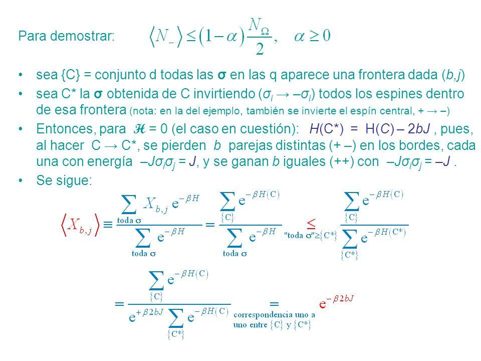 Para demostrar: sea {C} = conjunto d todas las σ en las q aparece una frontera dada (b,j)