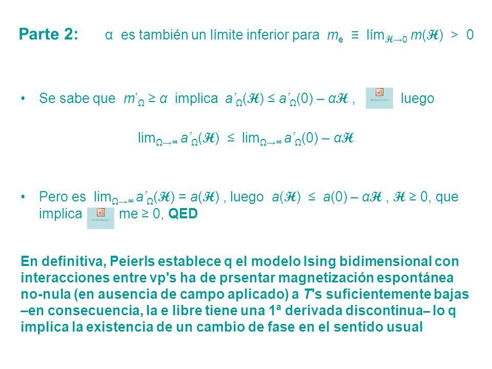 Parte 2: α es también un límite inferior para me ≡ límH→0 m(H) > 0