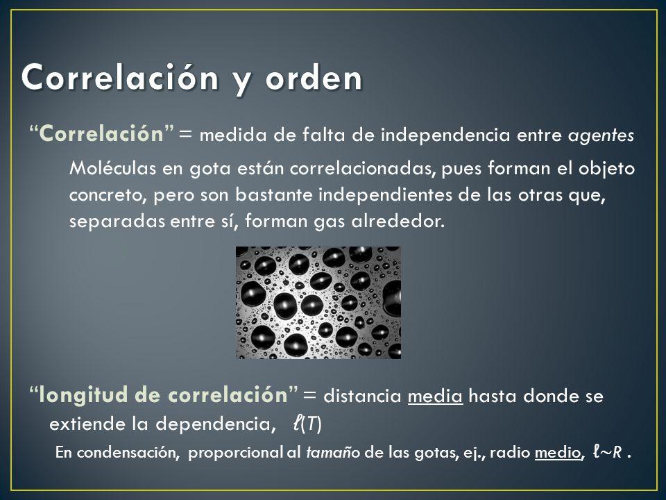 Correlación y orden Correlación = medida de falta de independencia entre agentes.