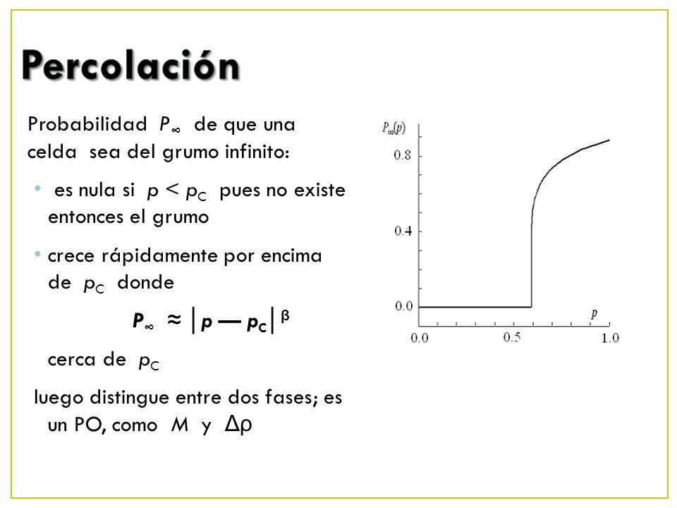 Percolación Probabilidad P∞ de que una celda sea del grumo infinito: