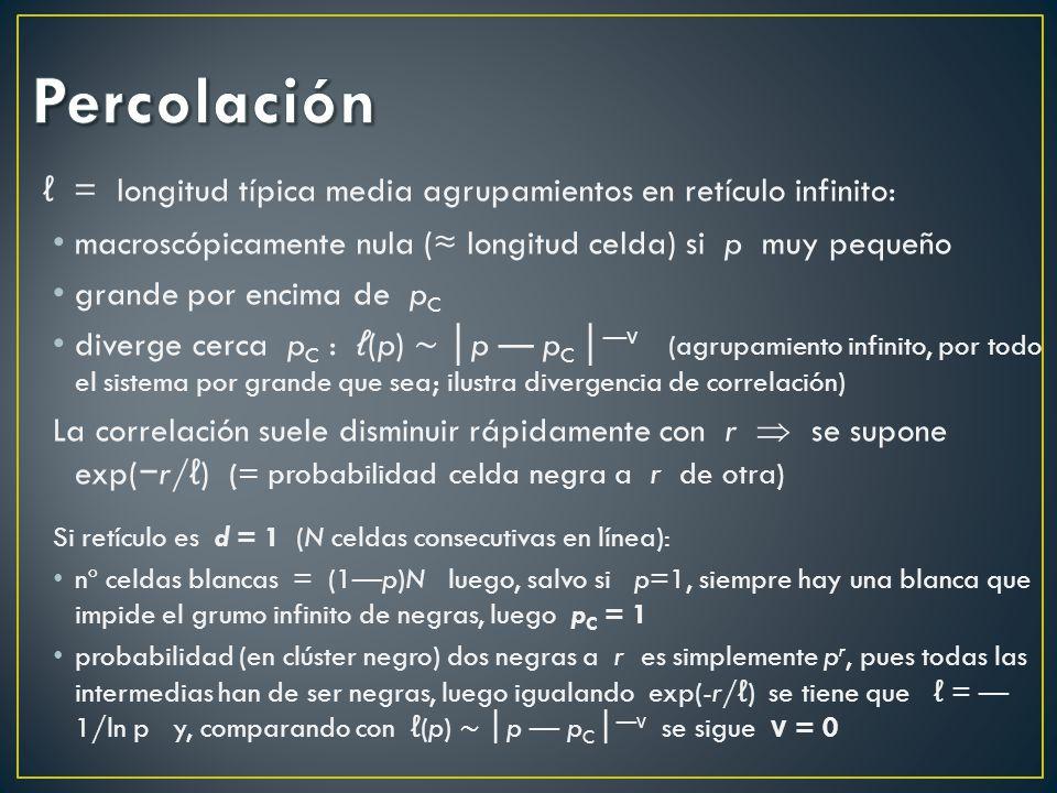 Percolación ℓ = longitud típica media agrupamientos en retículo infinito: macroscópicamente nula (≈ longitud celda) si p muy pequeño.