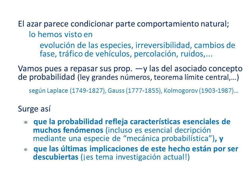 según Laplace (1749-1827), Gauss (1777-1855), Kolmogorov (1903-1987)…