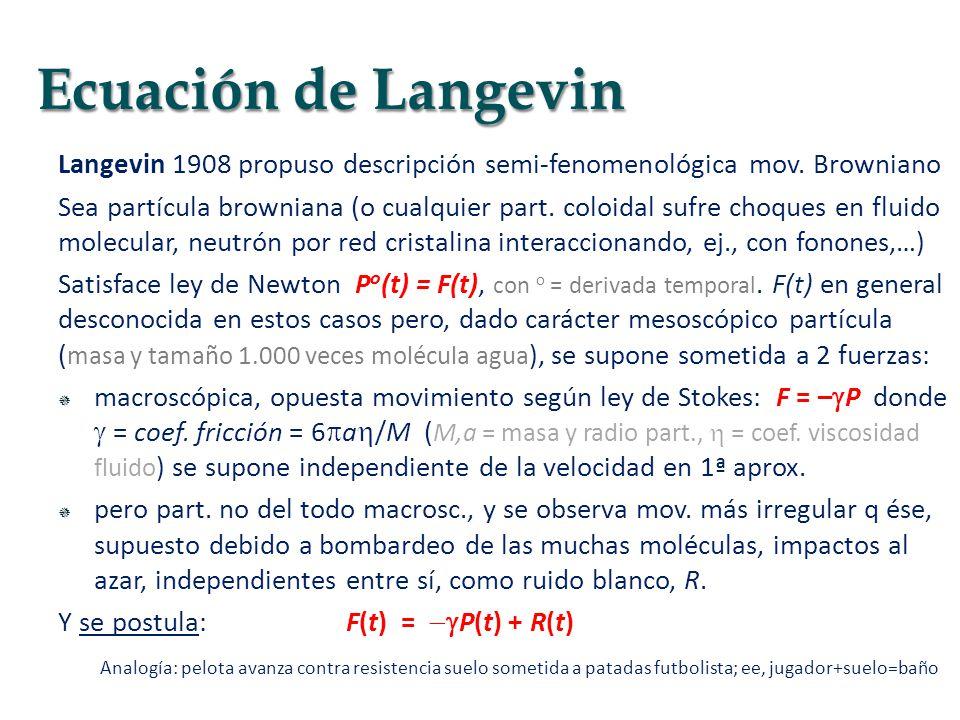 Ecuación de Langevin Langevin 1908 propuso descripción semi-fenomenológica mov. Browniano.