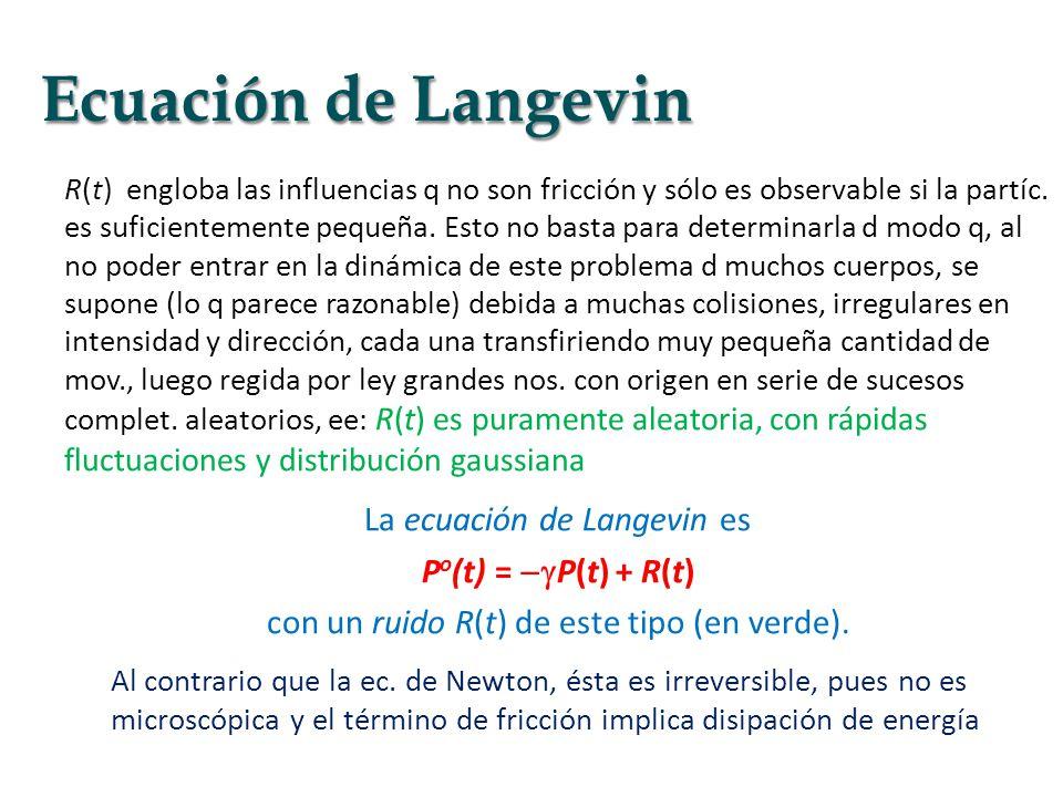 Ecuación de Langevin La ecuación de Langevin es Po(t) = P(t) + R(t)
