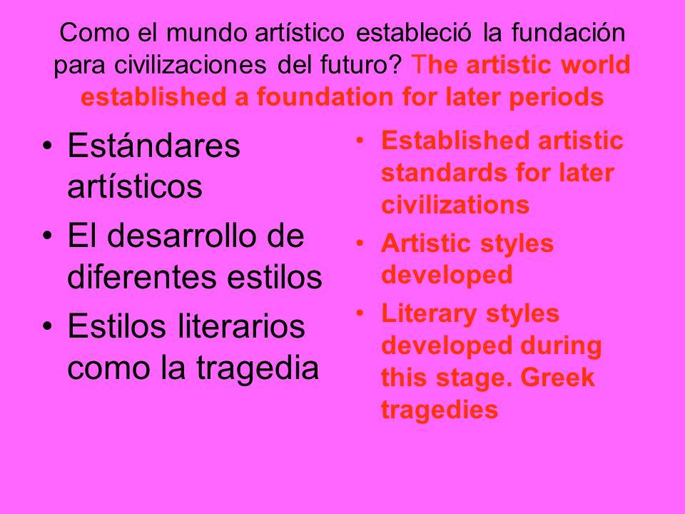 Estándares artísticos El desarrollo de diferentes estilos