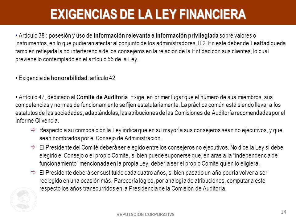 EXIGENCIAS DE LA LEY FINANCIERA