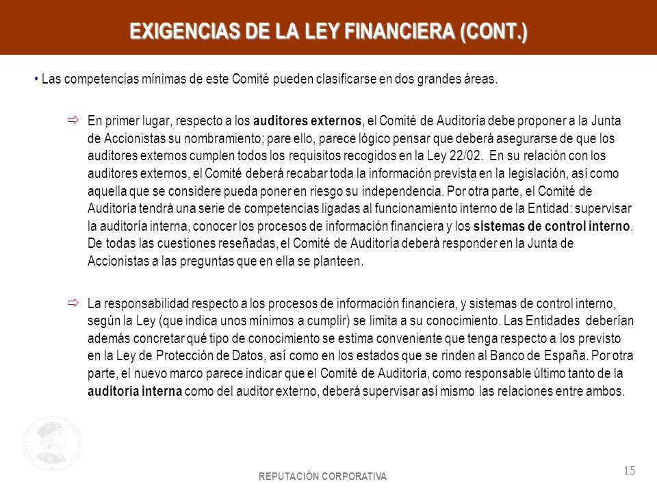 EXIGENCIAS DE LA LEY FINANCIERA (CONT.)