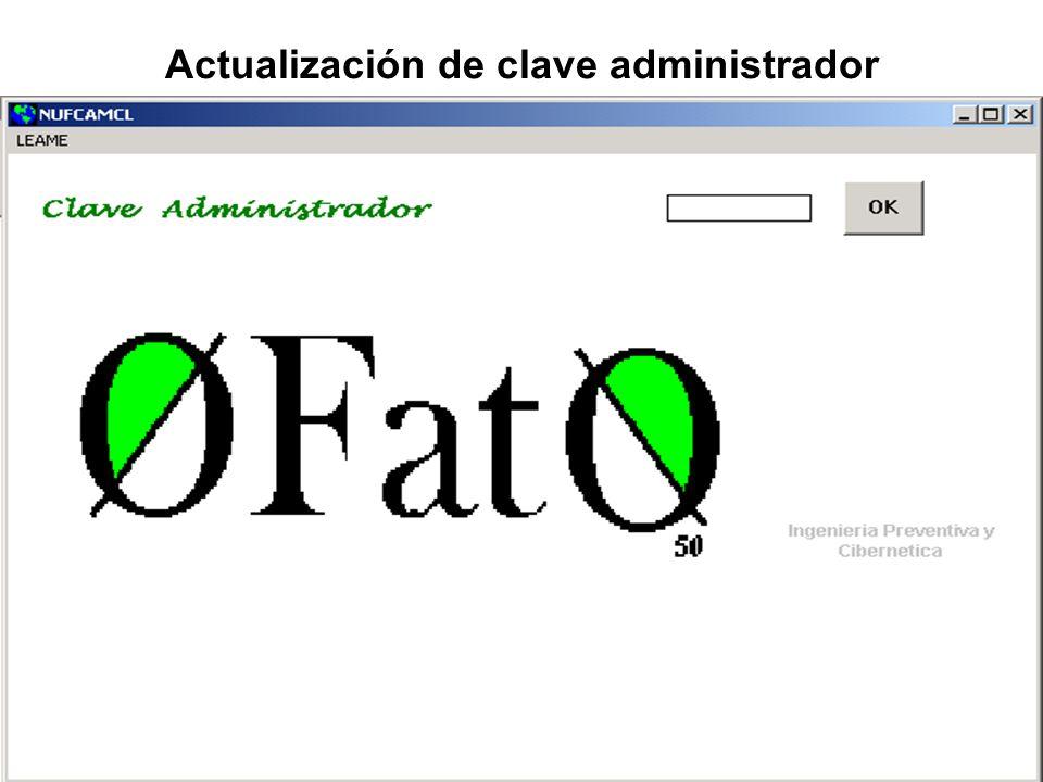 Actualización de clave administrador