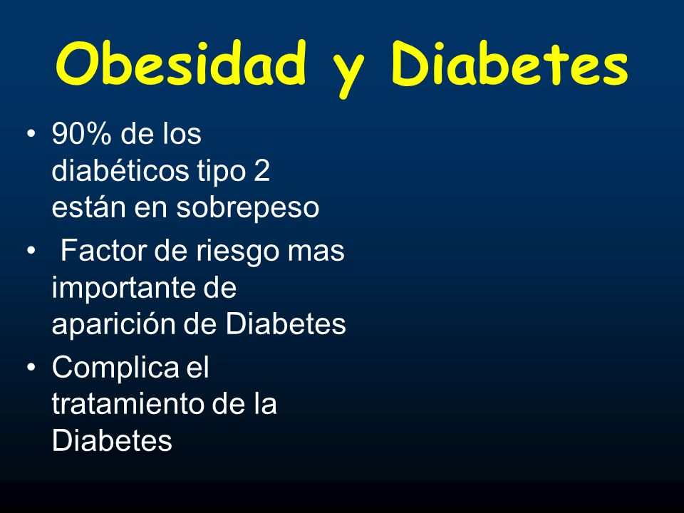Obesidad y Diabetes 90% de los diabéticos tipo 2 están en sobrepeso