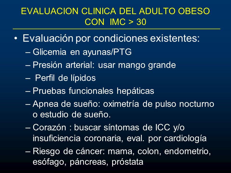 EVALUACION CLINICA DEL ADULTO OBESO CON IMC > 30