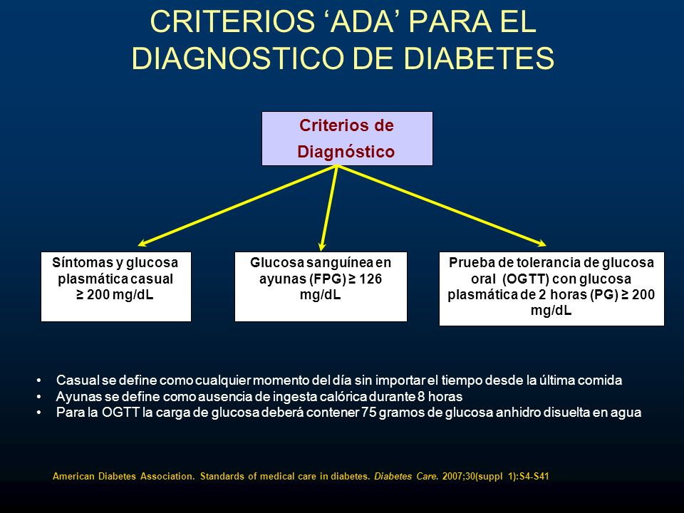 CRITERIOS 'ADA' PARA EL DIAGNOSTICO DE DIABETES