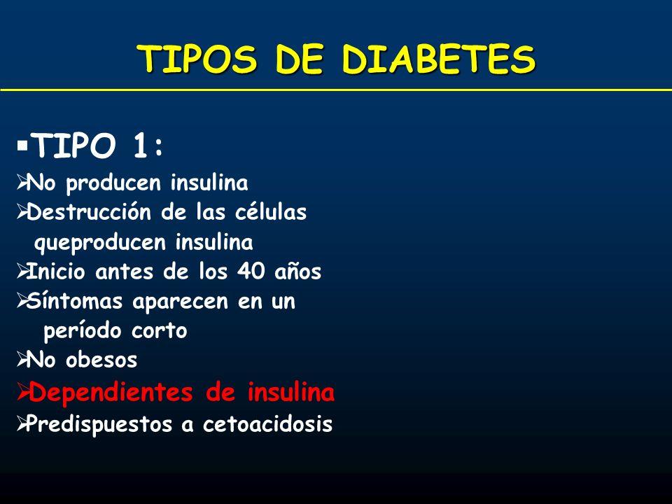 TIPOS DE DIABETES TIPO 1: Dependientes de insulina