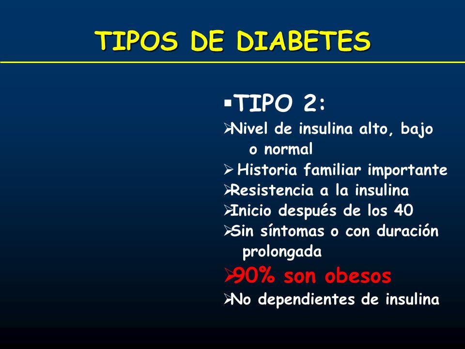 TIPOS DE DIABETES TIPO 2: 90% son obesos Nivel de insulina alto, bajo