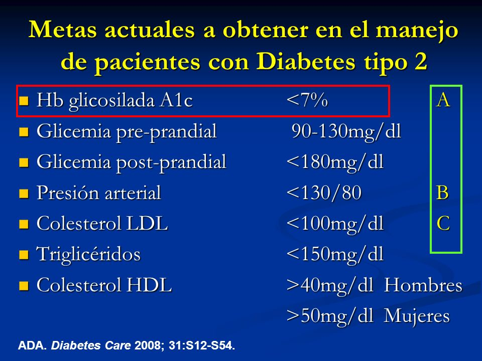 Metas actuales a obtener en el manejo de pacientes con Diabetes tipo 2