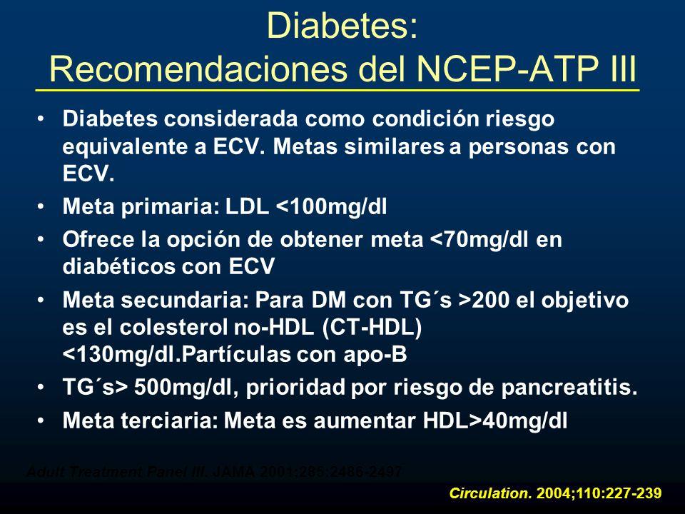 Diabetes: Recomendaciones del NCEP-ATP III