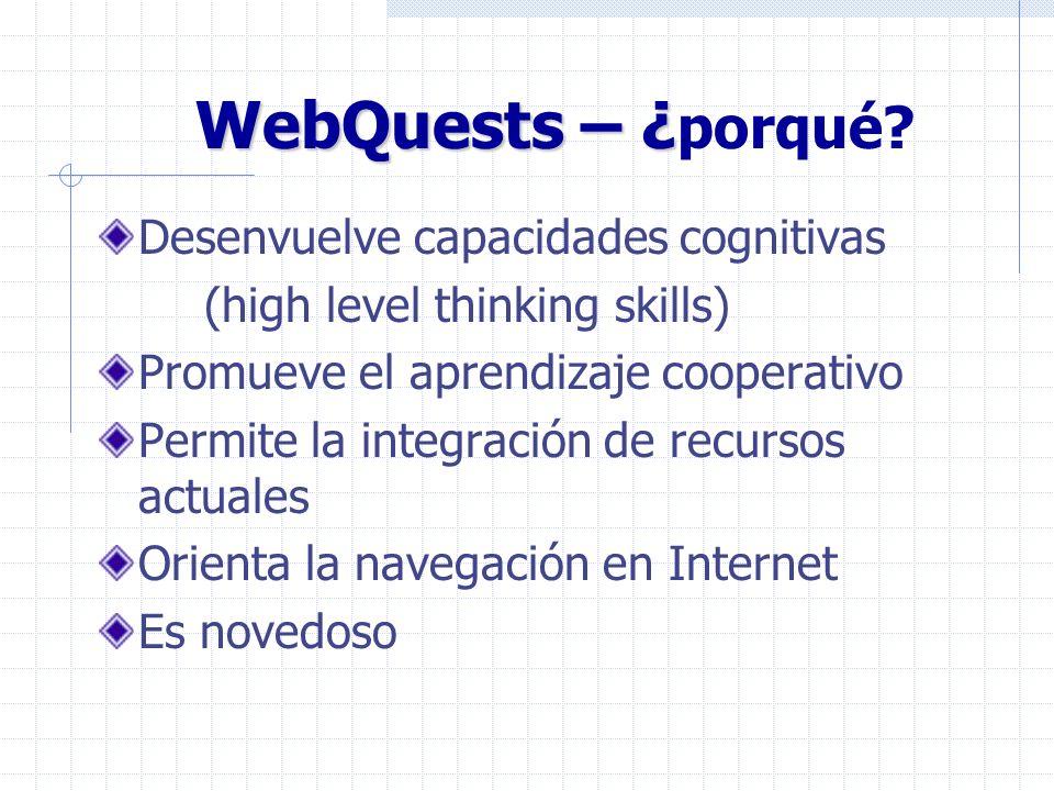 WebQuests – ¿porqué Desenvuelve capacidades cognitivas