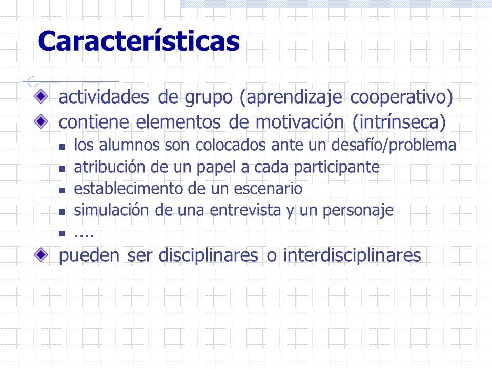 Características actividades de grupo (aprendizaje cooperativo)