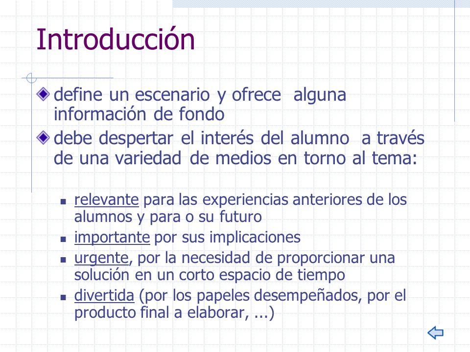 Introducción define un escenario y ofrece alguna información de fondo