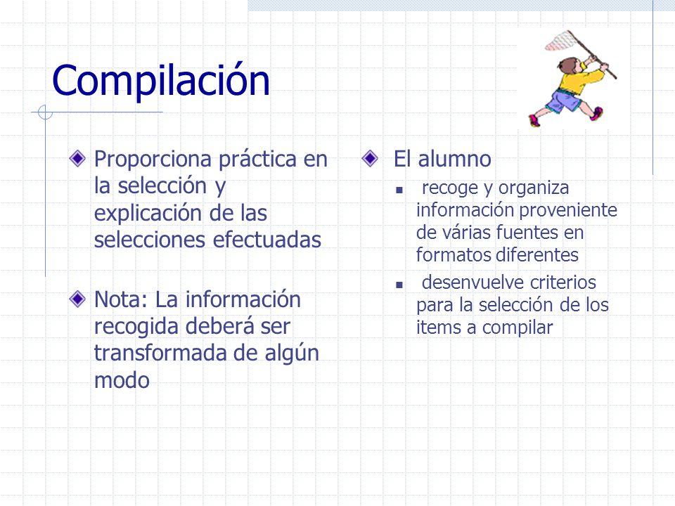 Compilación Proporciona práctica en la selección y explicación de las selecciones efectuadas.