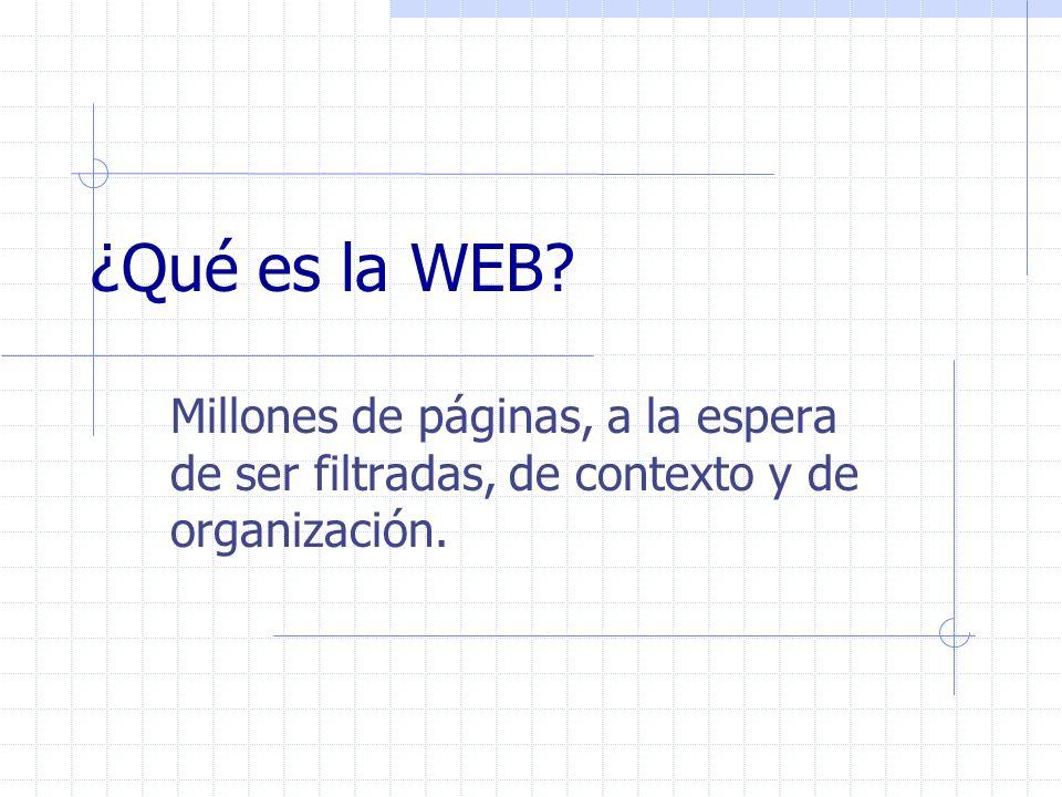 ¿Qué es la WEB Millones de páginas, a la espera de ser filtradas, de contexto y de organización.
