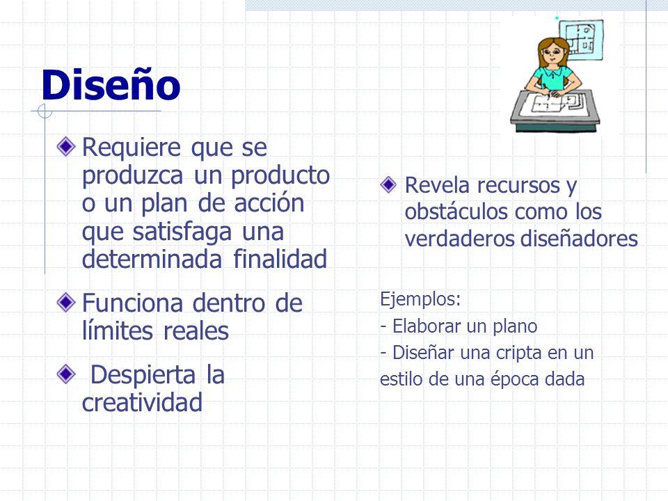 Diseño Requiere que se produzca un producto o un plan de acción que satisfaga una determinada finalidad.