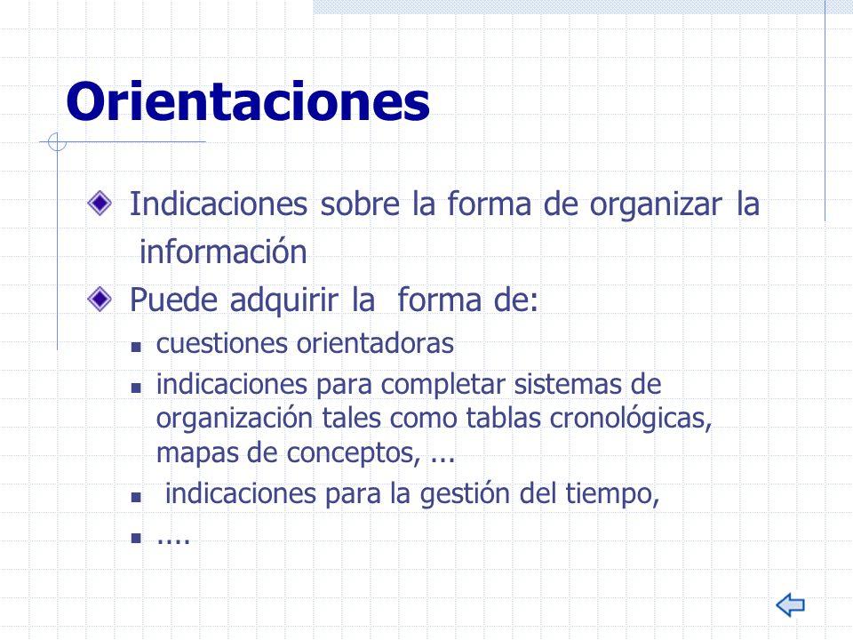 Orientaciones Indicaciones sobre la forma de organizar la información