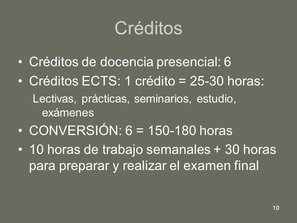 Créditos Créditos de docencia presencial: 6