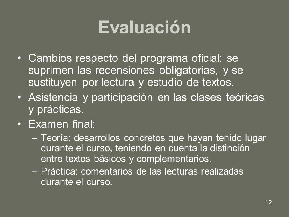 Evaluación Cambios respecto del programa oficial: se suprimen las recensiones obligatorias, y se sustituyen por lectura y estudio de textos.