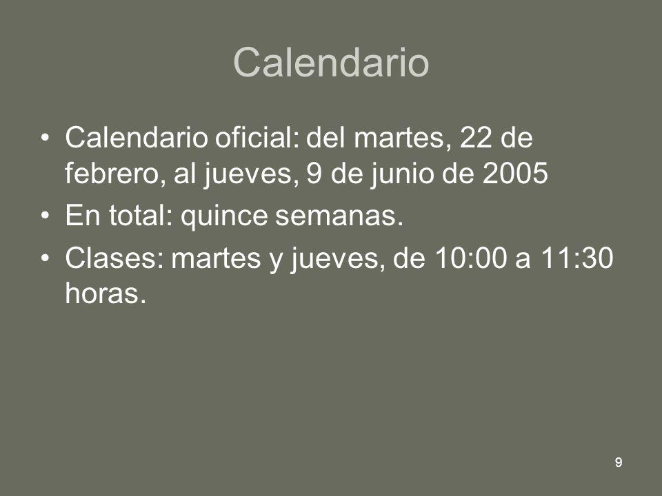 Calendario Calendario oficial: del martes, 22 de febrero, al jueves, 9 de junio de 2005. En total: quince semanas.