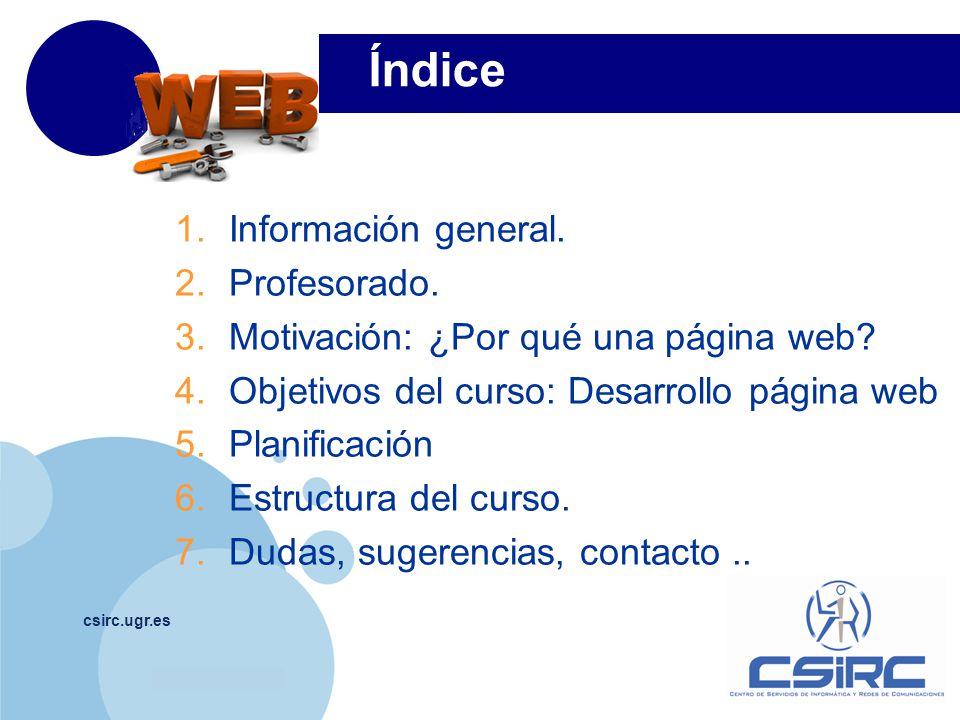 Índice Información general. Profesorado.