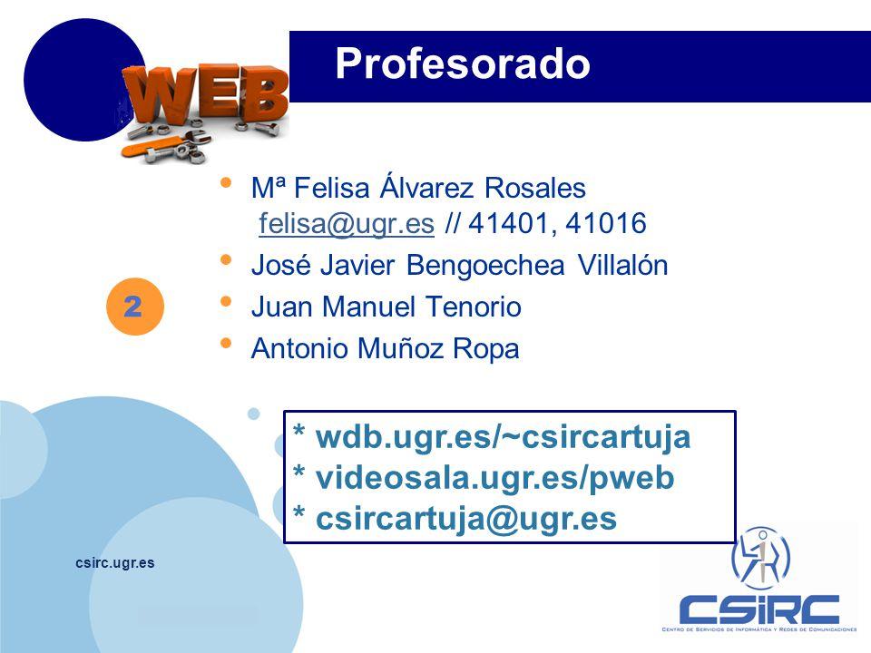 Profesorado * wdb.ugr.es/~csircartuja * videosala.ugr.es/pweb
