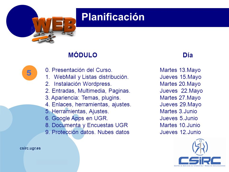 Planificación 5 MÓDULO Día 0. Presentación del Curso. Martes 13.Mayo