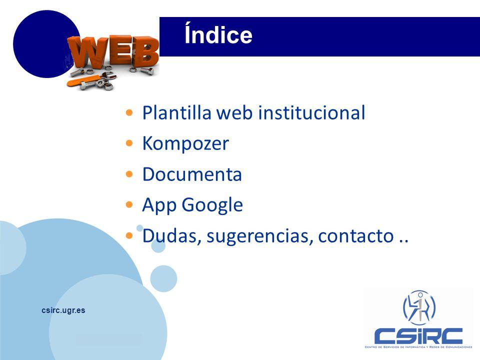 Índice Plantilla web institucional Kompozer Documenta App Google