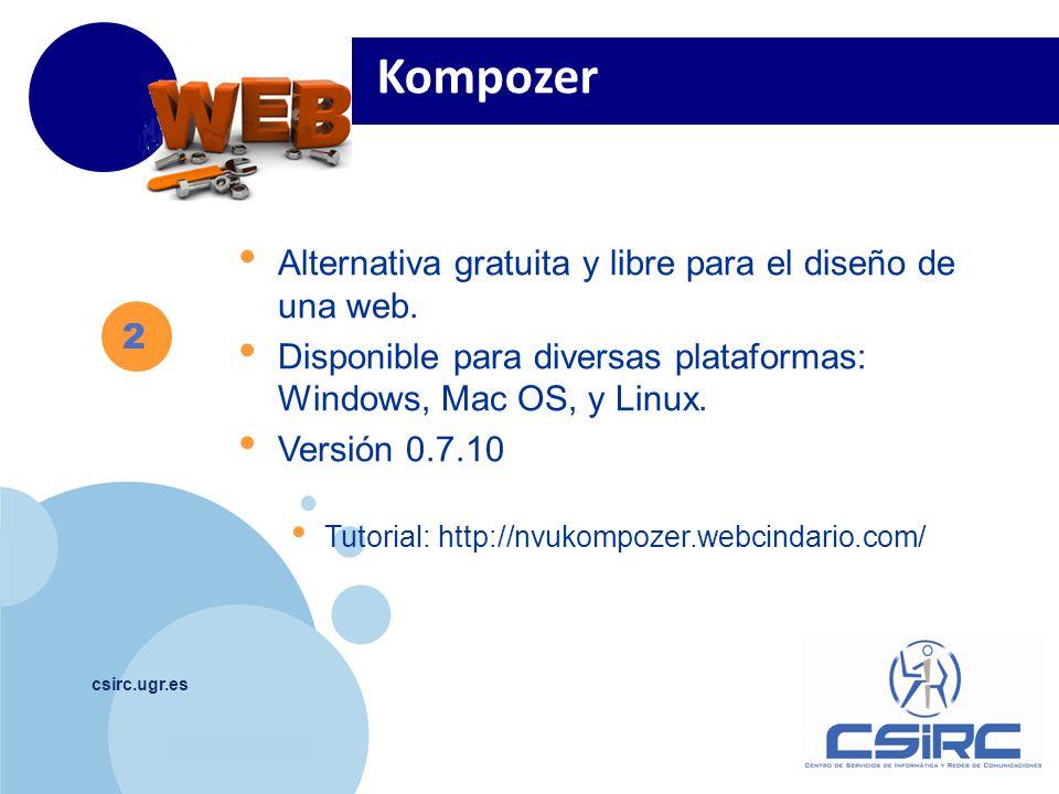 Kompozer Alternativa gratuita y libre para el diseño de una web.