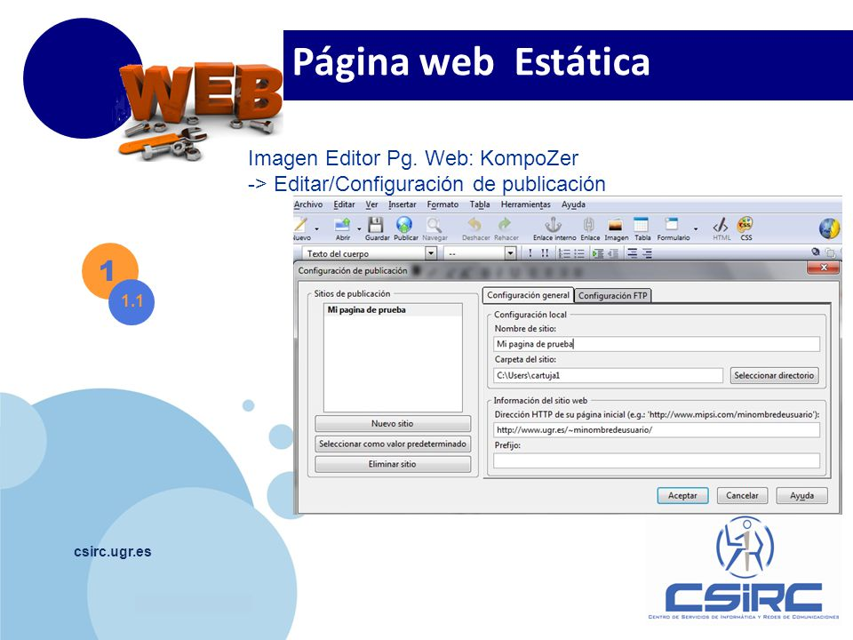 Página web Estática 1 Imagen Editor Pg. Web: KompoZer