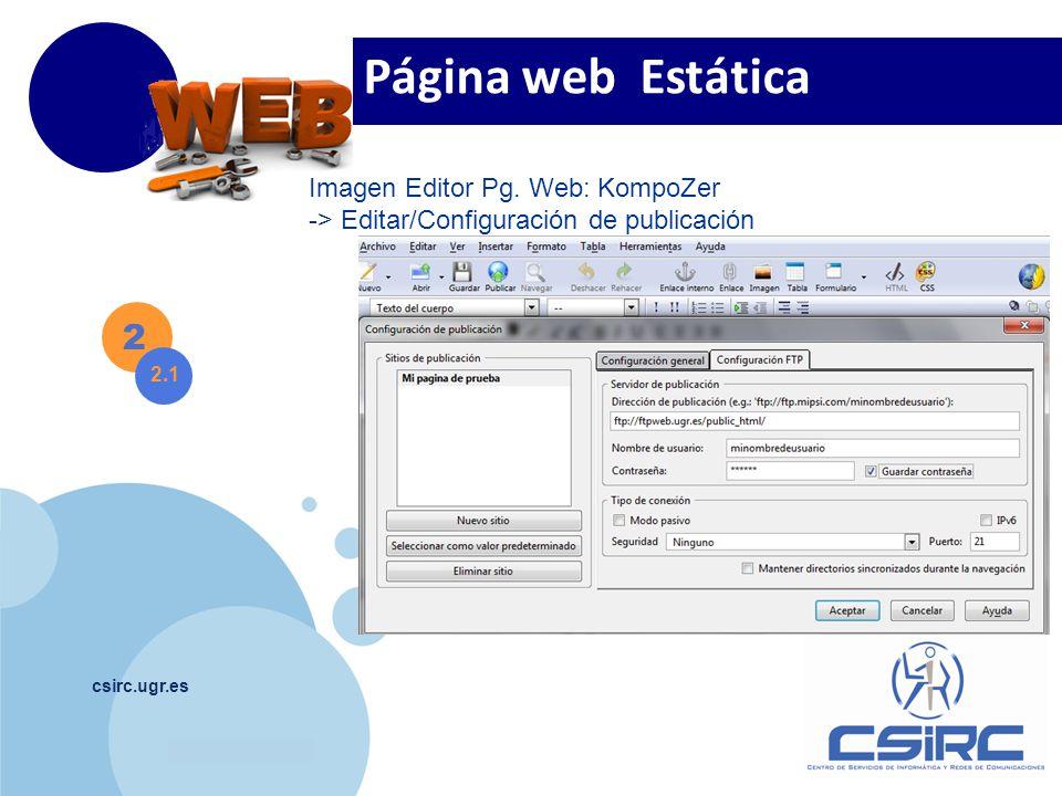 Página web Estática 2 Imagen Editor Pg. Web: KompoZer