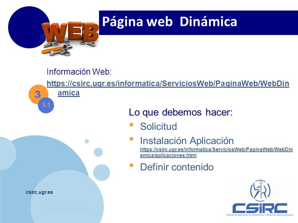 Página web Dinámica 3 Lo que debemos hacer: Solicitud