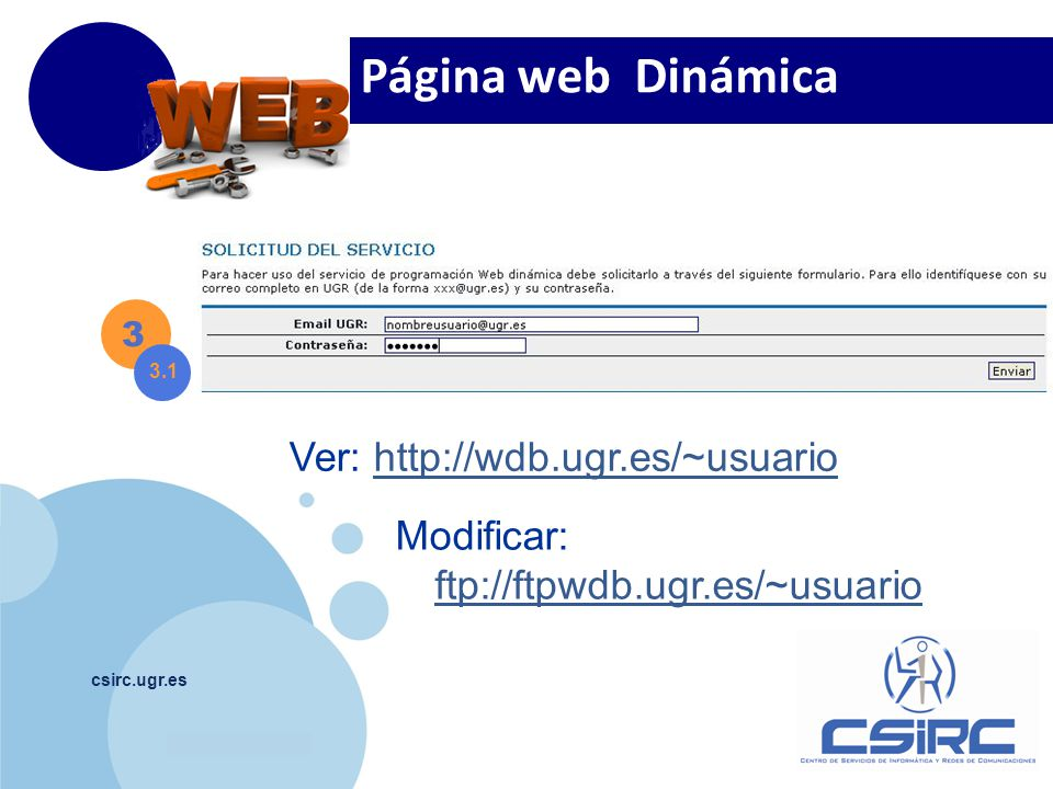 Página web Dinámica Ver: http://wdb.ugr.es/~usuario