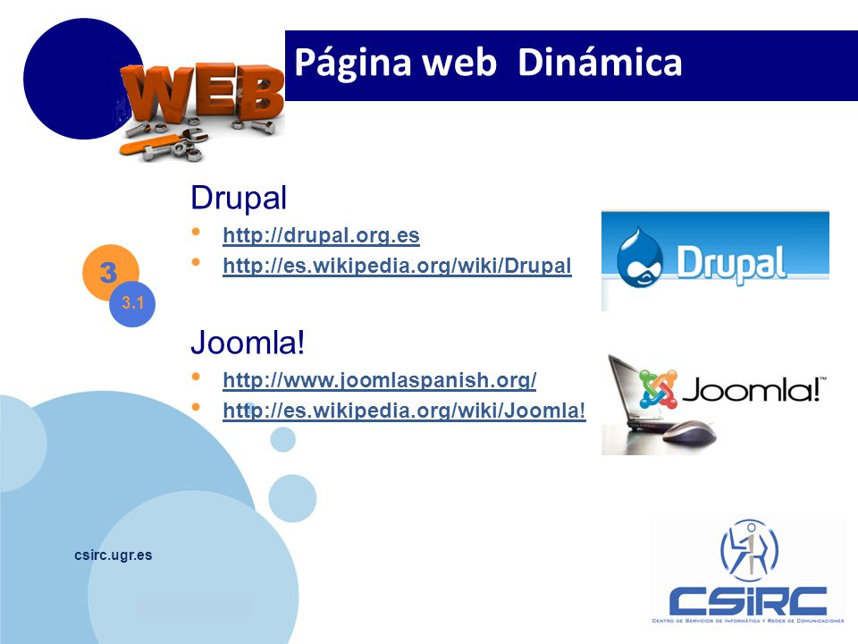 Página web Dinámica Drupal Joomla! 3 http://drupal.org.es