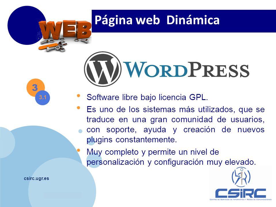Página web Dinámica 3 Software libre bajo licencia GPL.