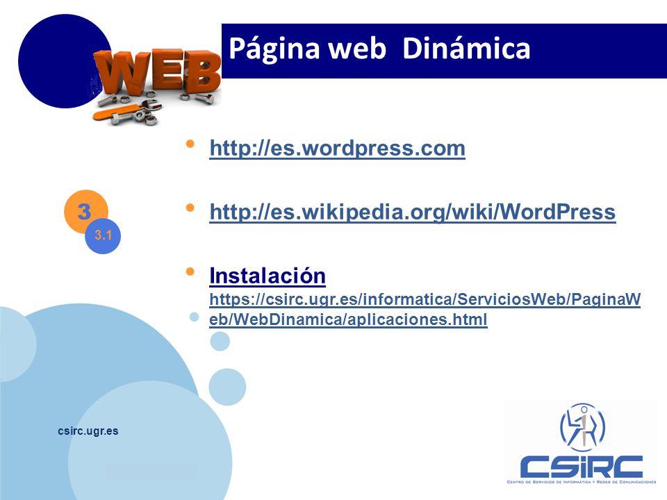 Página web Dinámica http://es.wordpress.com