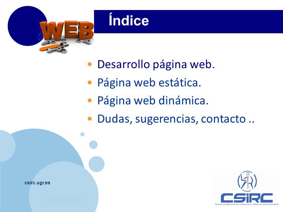 Índice Desarrollo página web. Página web estática.