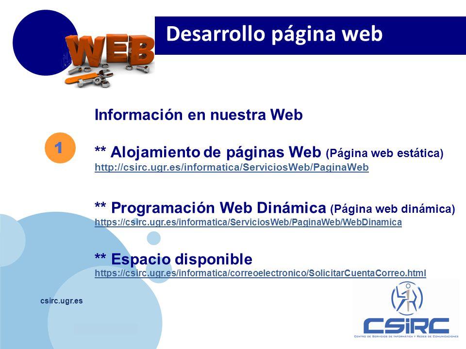 Desarrollo página web Información en nuestra Web